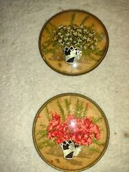 2 Antique Vintage Wall Hanging Convex Bubble Glass Dried Flower Picture