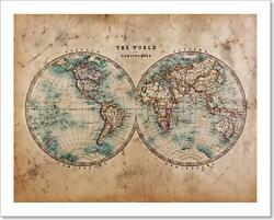 Old World Map In Art Print / Canvas Print. Poster, Wall Art, Home Decor - L