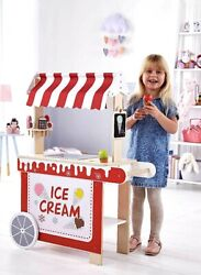 Childs Wooden Ice Cream Cart Shop Stand Trolley Pretend Play Food Set Role Toy