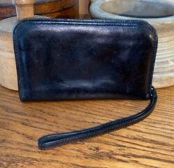 HOBO BAGS black vintage hide leather zip around phone clutch wallet wristlet EUC $29.99