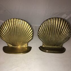 Vintage Mcm Solid Brass Clam Shell Seashell Pair Bookends Nautical Beach Decor