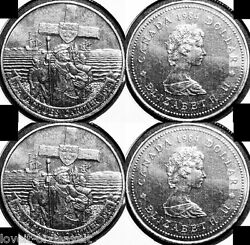 2x Canada 1984 Canadian Jacques Explorer Rare 1 Dollar Sealed Coins Lot
