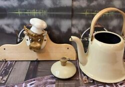 Vintage Hand Painted Ceramic Bull Cow Head Wall Plaque And Enamel Teapot Kettle Ru