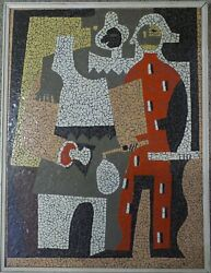 Vintage Mid Century Pablo Picasso Pierrot And Harlequin Style Mosaic Tile Wall Art