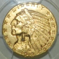 1913 5 Gold Indian Ms63+ Pcgs
