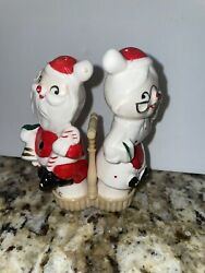 Vintage Santa And Mrs Claus Salt And Pepper Shakers