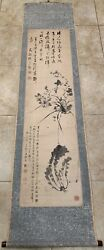 Antique Japanese/ Chinese Brush Painting And Calligraphy On Paper/ Signed/ Scroll