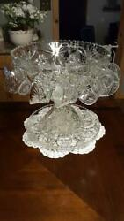 Vintage Anchor Hocking Star Of David Punch Bowl And Cake Plate