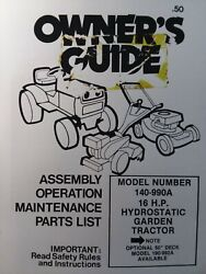 Mtd 140-990a Farm King 16hp Lawn Garden Tractor And Mower Owner And Parts 2 Manuals