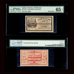 Pmg 65 1900and039s J.j. Mcalester - Oklahoma Indian Territory Merchant Scrip 25c
