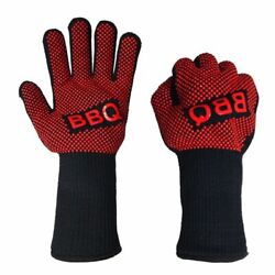 Bbq Gloves Heat Resistant Barbecue Mitts Silicone Insulated Cooking Grilling Red