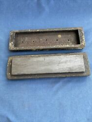 Vintage Antique Sharpening Stone In Wood Box
