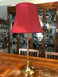 Vintage Ornate Brass And Crystal Tall Table Lamp 21 3/4 Tall Bottom To Socket