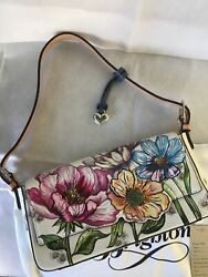Brighton Embroidered Flower Pochette Handbag New Without Tags- White/multi