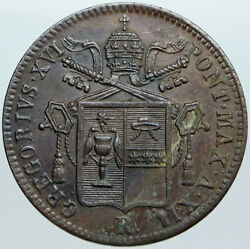 1843 Italy Italian Papal States Pope Gregory Xvi Old Antique Baiocco Coin I88954