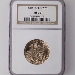 2007 American Gold Eagle G25 Ngc Certified Ms70 1/2oz