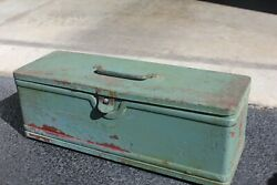 Antique Vintage Tombstone Metal Tool Box With Metal Handle And Single Clasp
