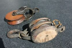 Vintage H235 Iron Rope Pulley Wooden Wheel + Wooden Double Block Barn Pulley