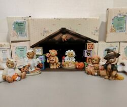 Cherished Teddies 1 Halloween House And 6 Teddy Set W/boxes And Coas