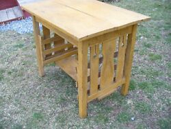 Antique Mission Arts And Crafts Oak Library Table Magazine Rack Old Mustard Paint