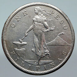 1907 S Philippines Under Us Administration W Eagle Old Silver Peso Coin I89771