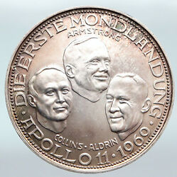1969 Germany Apollo 11 Armstrong Colllins Aldrin Path Moon Antique Medal I89772