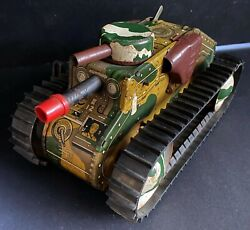 1950s Vintage Marx Wind Up Army Tank Tin Lithographed E12 Army Litho Toy Vtg