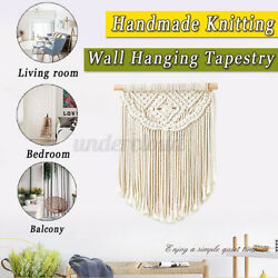 Hand Knotted Macrame Knit Wall Handmade Cotton Bohemian Wall Hanging Tap Cotton