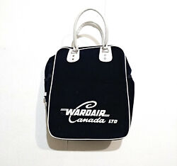 Vintage Wardair Canada 70s/80s Carry-on/tote Navy Blue Velour Bag