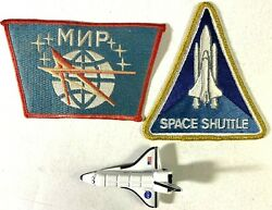 Lot Space Shuttle Discovery And Mir Patch Iron On And Die Cast 3 Ov-103 Mnp