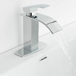Bathroom Sink Faucet Waterfall Single Handle 6cover Deck Mount Chrome Mixer Tap