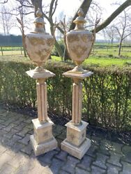 Beautiful Set Of Two French Louis Xvi Style Collumns With Matching Vases
