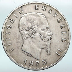 1873 Mbn Italy King Victor Emmanuel Ii Silver 5 Lire Antique Italian Coin I89813