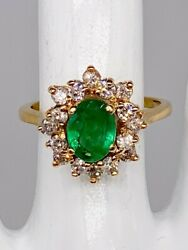 Antique 1960s 5000 3.50ct Aaa+++ Colombian Emerald Diamond 14k Yellow Gold Ring