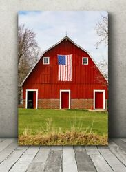 Metal Red Barn Photo American Flag Photography Print Midwest Wall Art Pictures