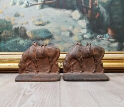 Antique Brass Cast Iron Cowboy Grazing Saddled Horse Western Bookends Book Ends