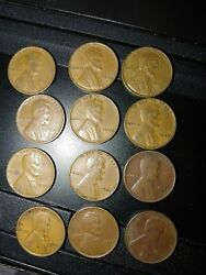 1927-1942 Lincoln Wheat Bronze Pennies Vg 1c Lot Of 12
