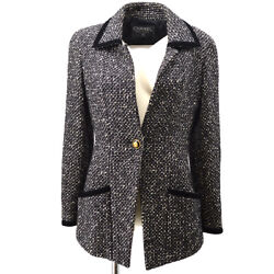 Cc Button Single Breasted Long Sleeve Jacket Tweed Black White 60226
