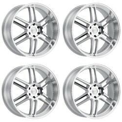 Set 4 22x10 Black Rhino Katavi Silver Wheels 5x4.5 30mm Jeep Ford 5 Lug W/ Lugs