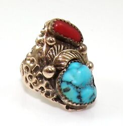 Native American Nugget Wide 14k Yellow Gold Ring Turquoise Coral Size 8 Ljc2