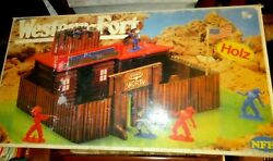 Vintage Rare Wooden Western Fort - Fort Worth - 1970 Boxed W.germany By Nfh