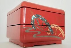 Vintage - Japanese - Hand Painted Wooden Box - Lacquer - 2 Tiers W/ Lid