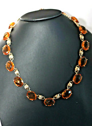 Exquisite One Of A Kind Citrine And Diamond Necklace On 14 K Yellow Gold