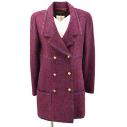 93a 38 Cc Button Double Breasted Long Sleeve Jacket Tweed Bordeaux 60229