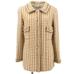 00a 40 Cc Button Single Breasted Long Sleeve Jacket Tweed Brown 60208