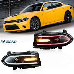 New Pair Led Drl Music Colourful Projector Headlights For 2015-20 Dodge Charger