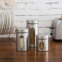 Stainless Steel Plated Glass Kitchen Canister Set Airtight Food Storage Visible