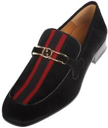 New Menand039s Black Suede Interlocking G Logo Web Loafers Shoes 7/us 7.5