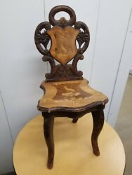 Antique 19th C Black Forest Wooden Carved Walnut Childandrsquos Music Box Chair 26andrdquo