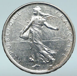 1962 France La Semeuse French Sower Woman Old Large Silver 5 Francs Coin I89672